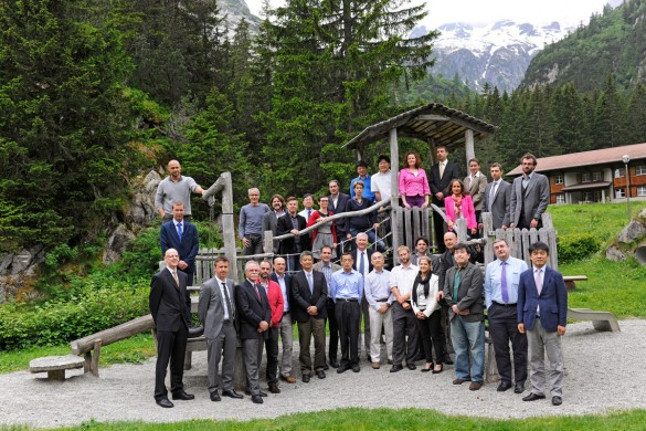"The partner organisations of the Grimsel Test Site meet on a regular basis. These are the participants in the 2015 meeting of the ""International Steering Committee"" (ISCO) that is traditionally held in Switzerland. Photo: Comet Photoshopping, Dieter Enz"