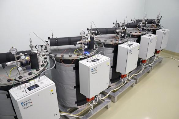 Experimentelles Equipment zur Untersuchung der Gasbildung.