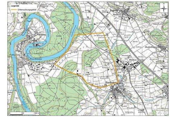 Im Gebiet Isenbuck / Berg werden zurzeit geoelektrische Messungen durchgeführt. Topografische Karte: © Bundesamt für Landestopografie
