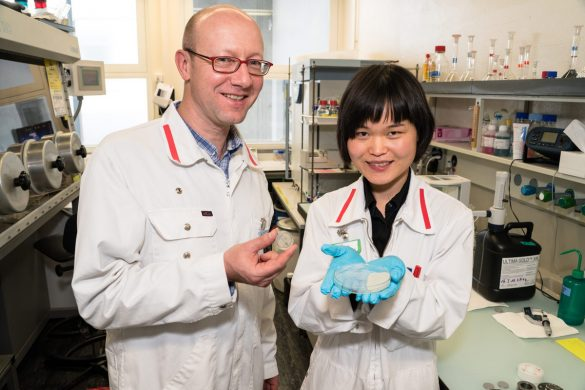 Yanhua Chen (left, PSI) and Jens Mibus (right, Nagra) presenting clay minerals