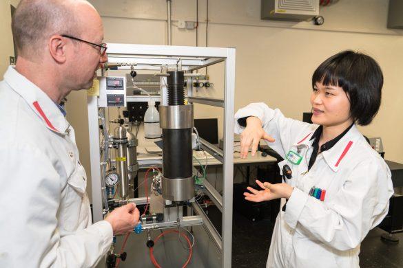 Yanhua Chen diskutiert mit Jens Mibus (Projektmanager Sicherheitsanalysen, Nagra) vor der Versuchsanlage, in der sie Opalinuston verwendet. Bild: Nagra