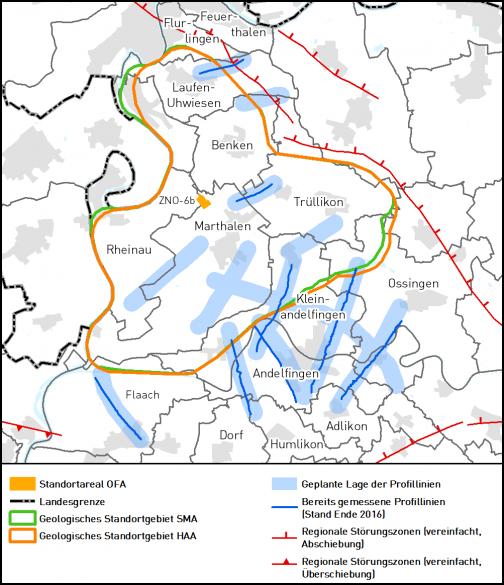 Übersichtskarte zur 2D-Seismik für Quartäruntersuchungen in Zürich Nordost (Stand Ende 2016)